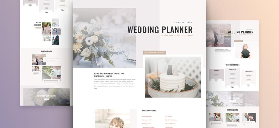 Elegant Wedding Planner Website Layout