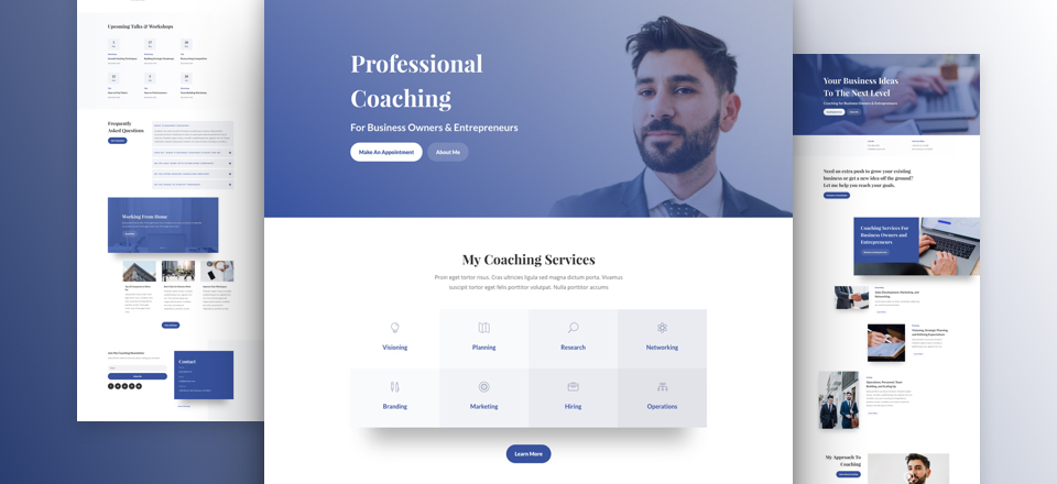Business Coach Website Design Layout